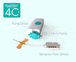 LD20 Flüssigkeitsdurchflusssensor ist Teil von Quantex neuer tragbarer IoT-Medikamentenverabreichungsplattform 4C